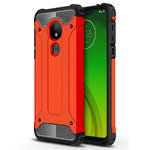 Military Defender Tough Shockproof Case for Motorola Moto G7 Power - Red